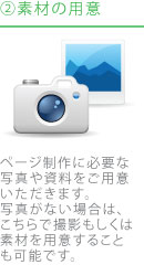 2.素材の用意|ページ制作に必要な写真や資料をご用意いただきます。写真がない場合は、こちらで撮影もしくは素材を用意することも可能です。
